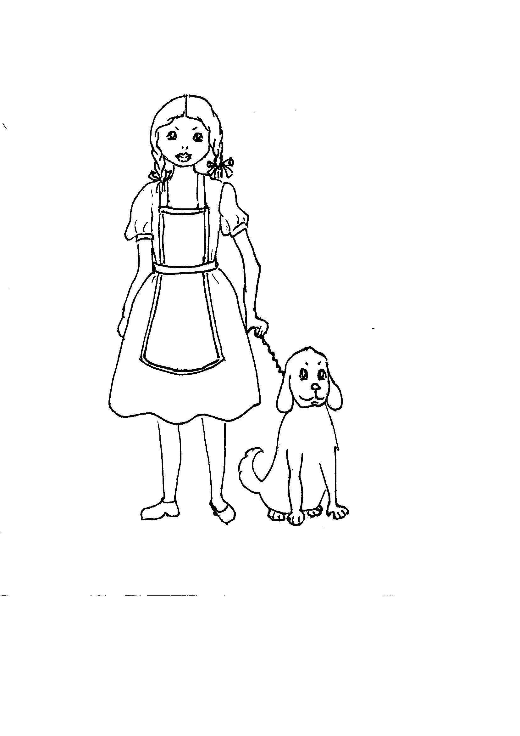 Disegni Da Colorare Bambini I Bambina Con Il Cane
