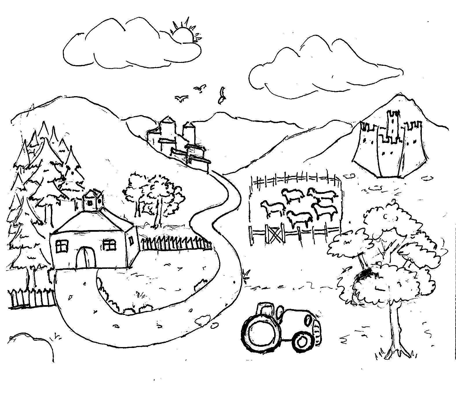 Disegni da colorare bambini i fattoria for Paesaggi da colorare per bambini