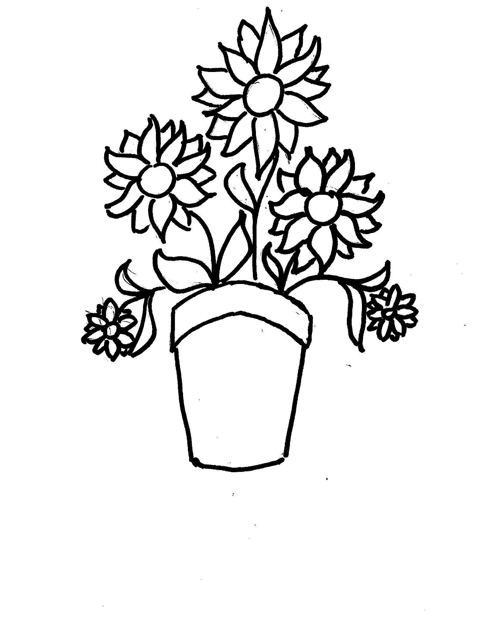 Disegni da colorare bambini i vaso di fiori for Vaso di fiori disegno